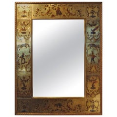 French Maison Jansen Style Gilt Églomisé́ Mirror, 1940s
