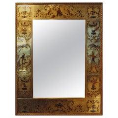 French Maison Jansen Style Gilt Églomisé Mirror, 1940s