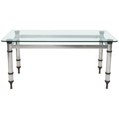French Maison Jansen Style Steel and Bronze Table with Glass Top