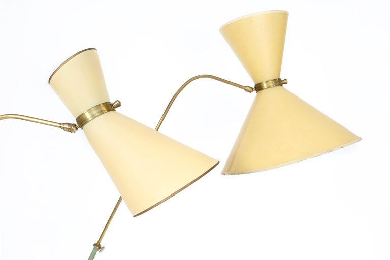 Mid-Century Modern French Maison Lunel Floor Lamps with Original Diabolo Shades, 1950s For Sale