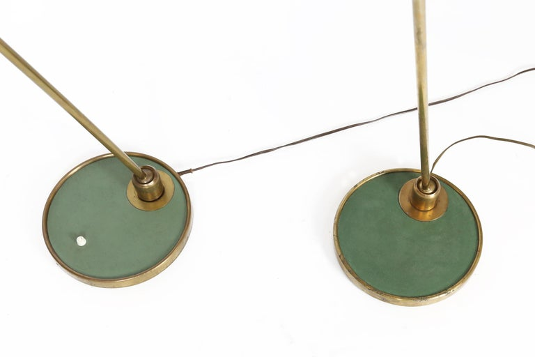 Brass French Maison Lunel Floor Lamps with Original Diabolo Shades, 1950s For Sale