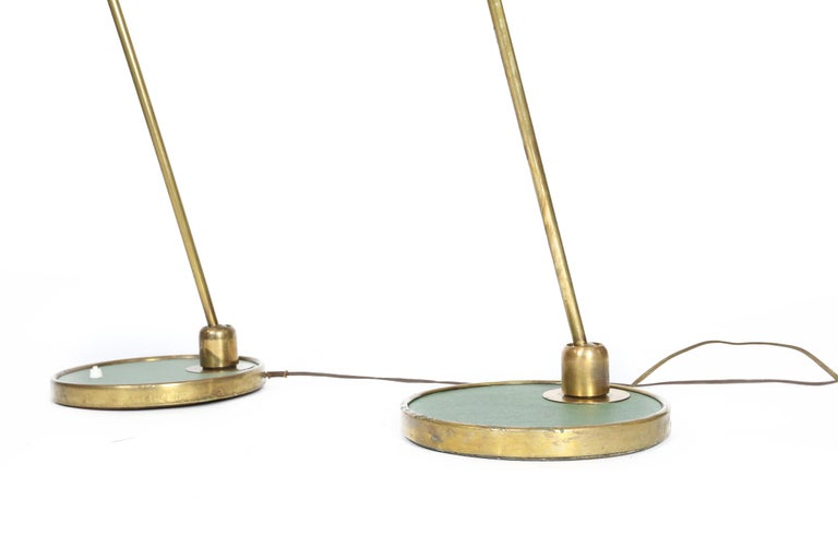 French Maison Lunel Floor Lamps with Original Diabolo Shades, 1950s For Sale 1