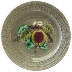 French Majolica Apple Plate Luneville, circa 1880