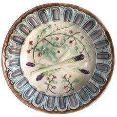 French Majolica Asparagus Onnaing Plate, circa 1890