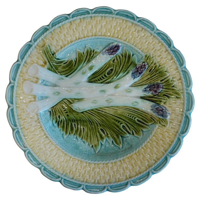 French Majolica Asparagus Plate Attributed to Salins For Sale