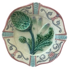French Majolica Asparagus Plate Fives Lille, circa 1890