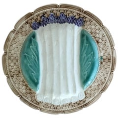 French Majolica Asparagus Plate Orchies, circa 1920