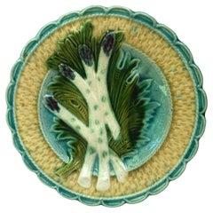 French Majolica Asparagus Plate Salins, circa 1890