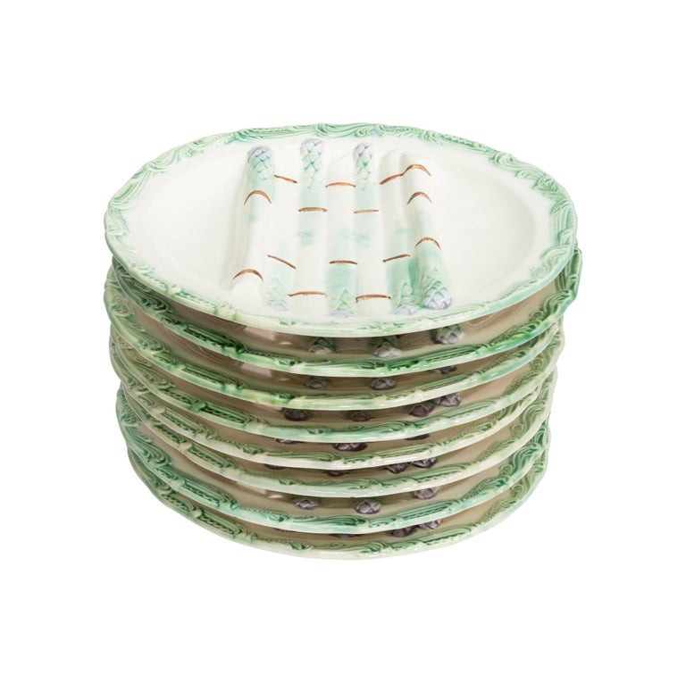 French Majolica Asparagus Plates, Set of 8 In Good Condition For Sale In Coeur d'Alene, ID