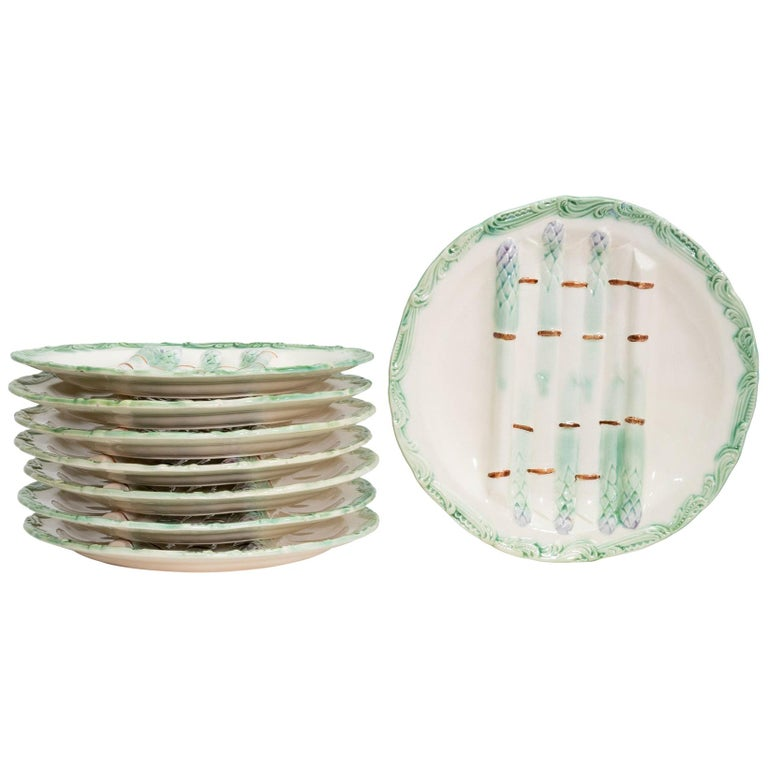 French Majolica Asparagus Plates, Set of 8 For Sale