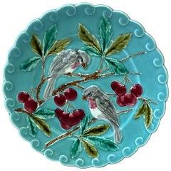 French Majolica Bird and Cherries Plate Sarreguemines, circa 1880