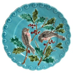 French Majolica Bird and Holly Plate Sarreguemines, circa 1880