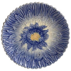 French Majolica Blue Daisy Plate Orchies, circa 1890