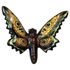 French Majolica Butterfly Applique Vallauris, circa 1950