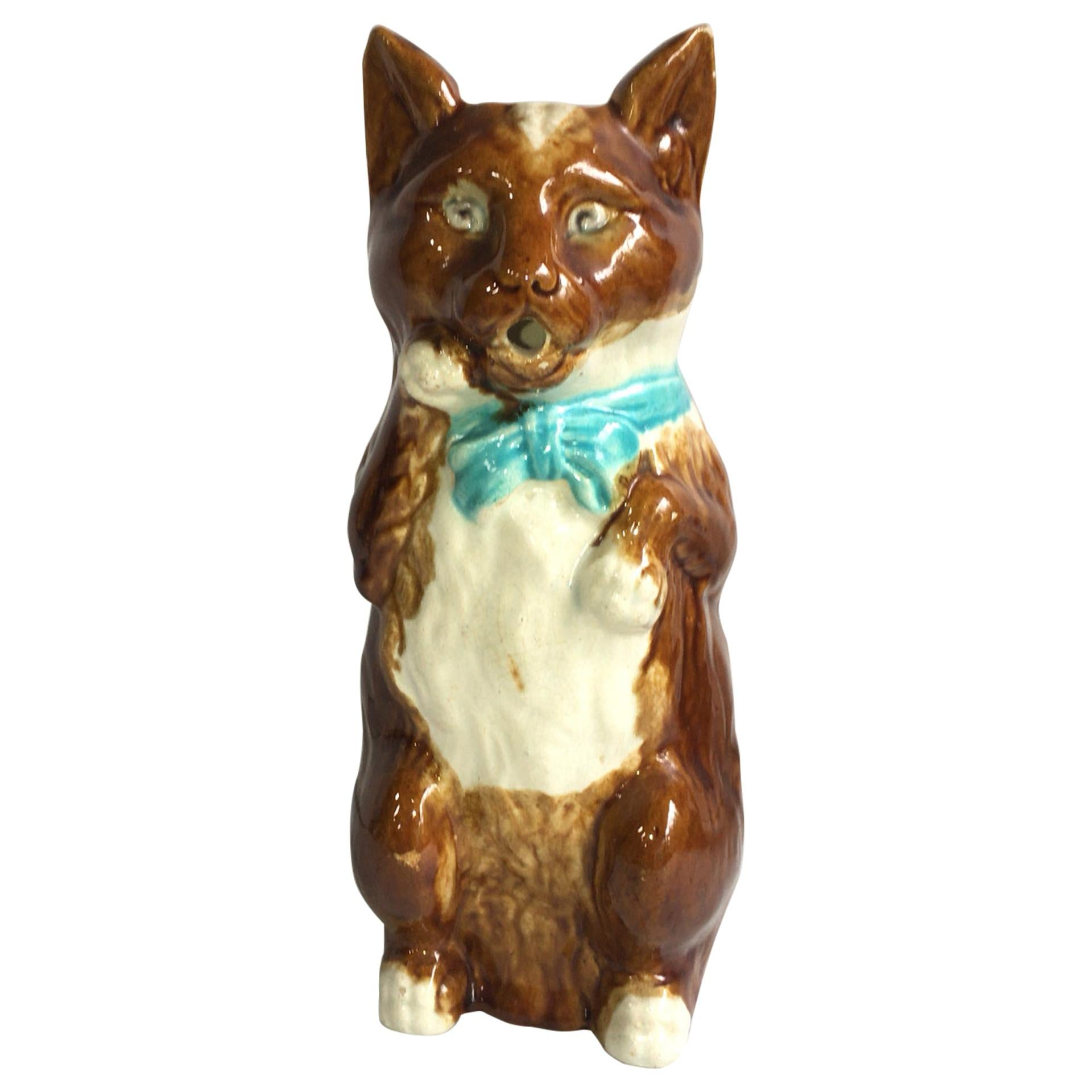 French Majolica Cat with Mandolin Pitcher with Blue Ribbon, circa 1890