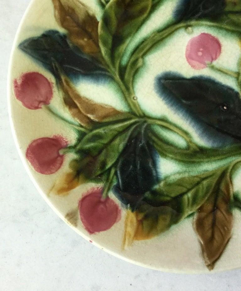 French Majolica cherries plate, circa 1890.