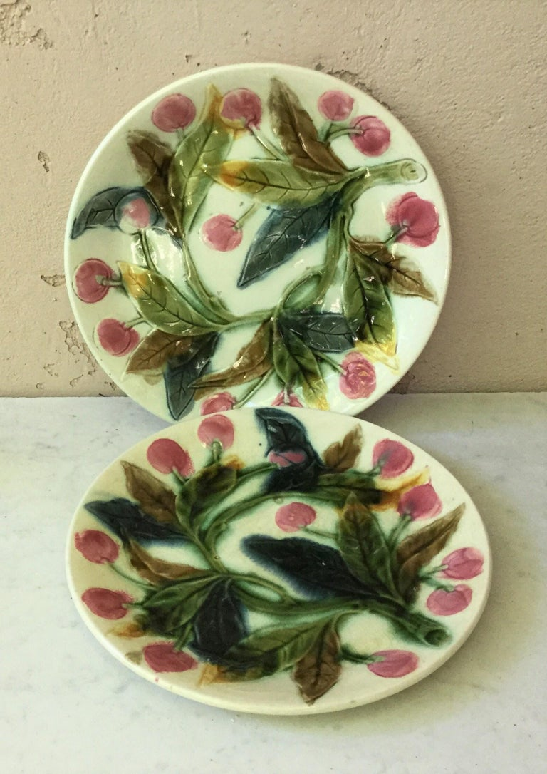 Country French Majolica Cherries Plate, circa 1890 For Sale