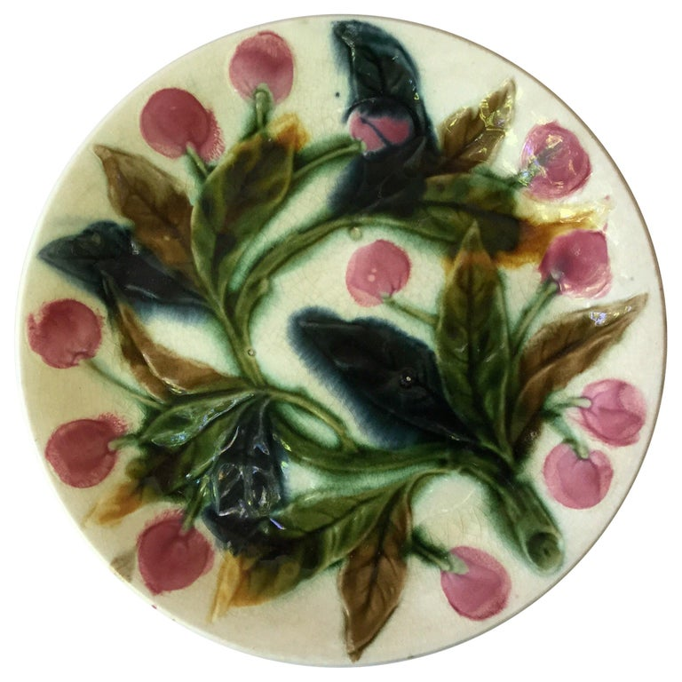 French Majolica Cherries Plate, circa 1890 For Sale