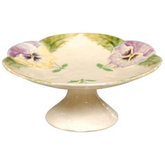 French Majolica Compote with Pansies and Scalloped Edge from the 19th Century