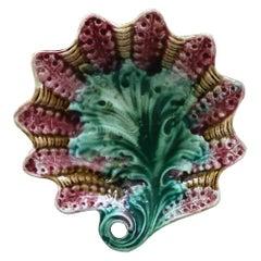 French Majolica Dish Leaf Onnaing, circa 1890