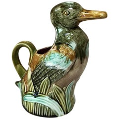 French Majolica Duck Pitcher Onnaing, circa 1890