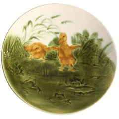 French Majolica Ducklings with Frogs Plate Sarreguemines, circa 1890