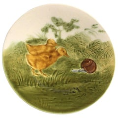 French Majolica Ducklings with Snail Plate Sarreguemines, circa 1890