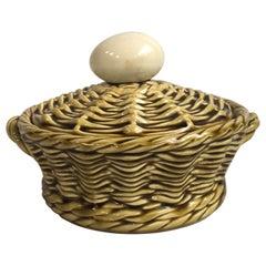 French Majolica Egg Basket Sarreguemines, circa 1920