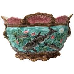 French Majolica Fish Jardinière Onnaing, circa 1890