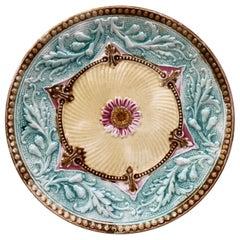 French Majolica Flower Plate, circa 1890