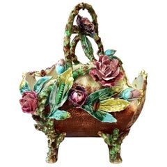 French Majolica Flowers and Insects Basket, circa 1880