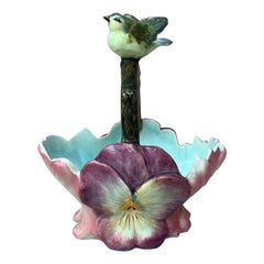 French Majolica Flowers Basket With Bird Jean Massier, circa 1890
