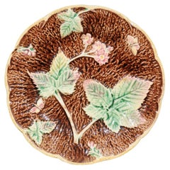 French Majolica Flowers, Strawberries and Butterflies Plate, circa 1860