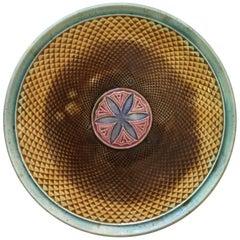 French Majolica Geometrical Plate, circa 1880