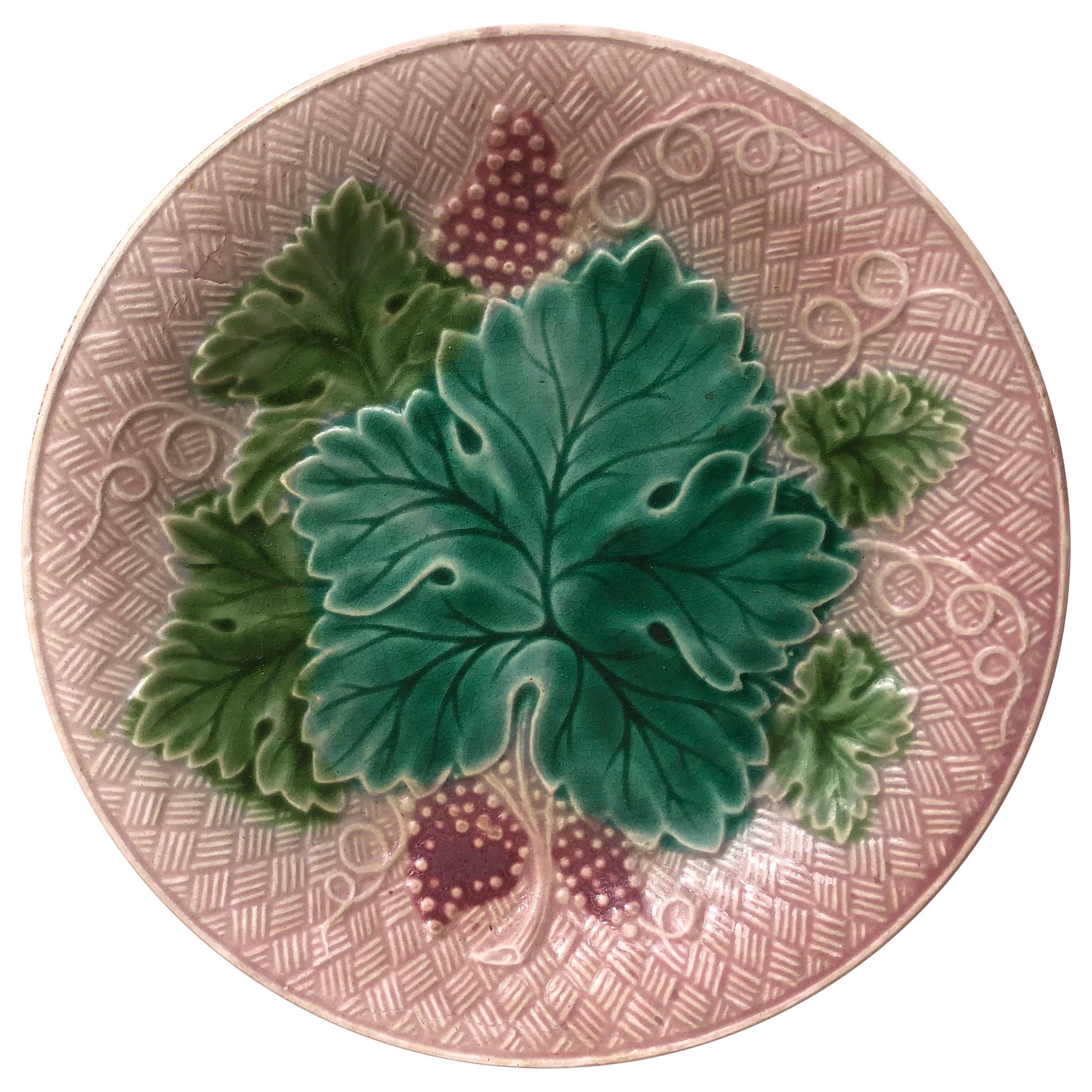 French Majolica Grapes Plate Salins, circa 1890