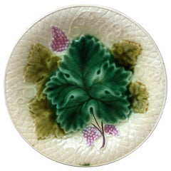 French Majolica Grapes Plate Salins, circa 1890