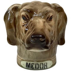 French Majolica Hound Medor Tobacco Jar Saint Clement
