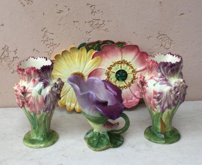French Majolica Iris Vase Delphin Massier, circa 1880 For Sale 5