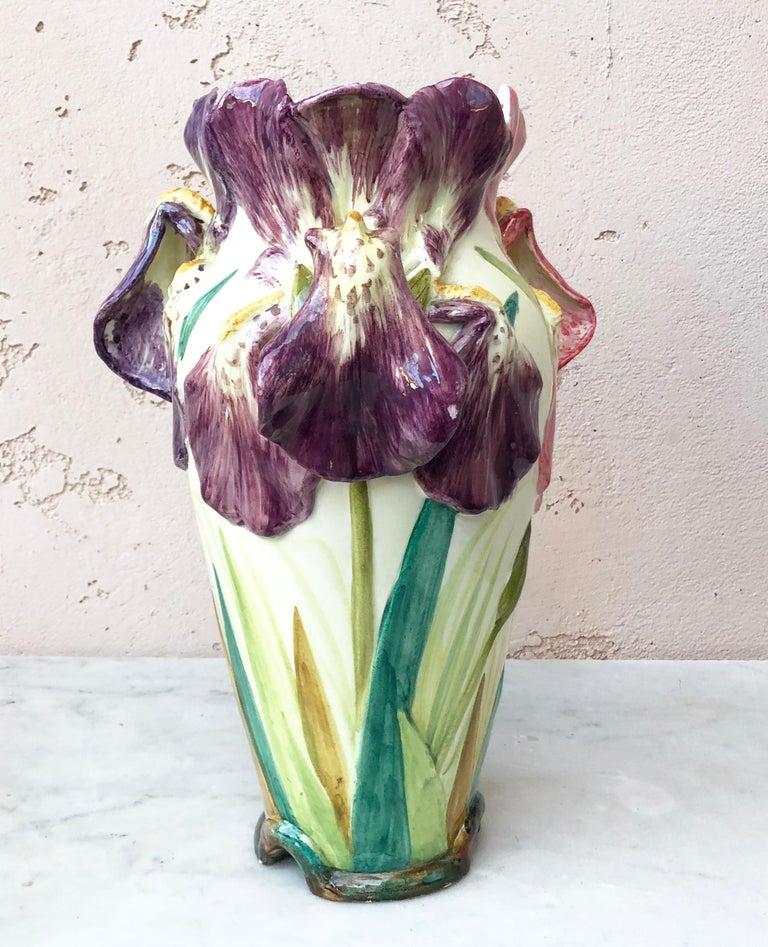 Art Nouveau French Majolica Iris Vase Delphin Massier, circa 1880 For Sale
