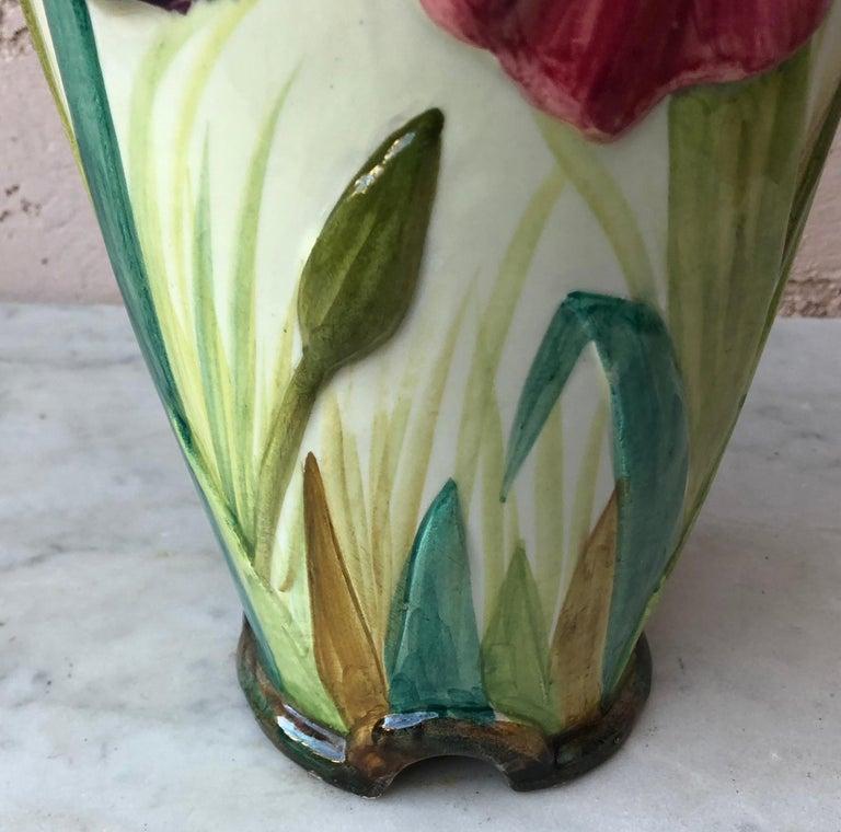 French Majolica Iris Vase Delphin Massier, circa 1880 For Sale 1