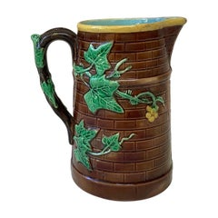 French Majolica Ivy Pitcher Sarreguemines, circa 1880