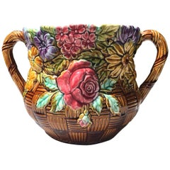 French Majolica Jardinière with Flowers Onnaing, circa 1890