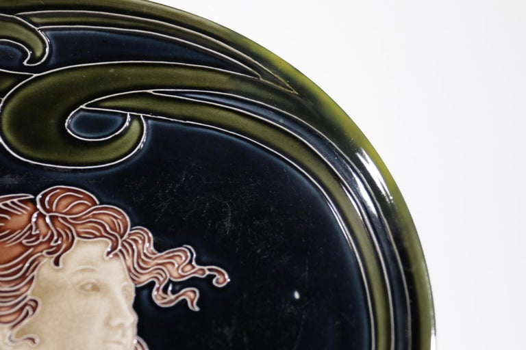 Early 20th Century French Majolica Jugendstil Art Nouveau Ceramic Plate, circa 1900 For Sale