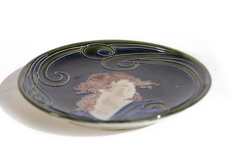 French Majolica Jugendstil Art Nouveau Ceramic Plate, circa 1900 For Sale 2
