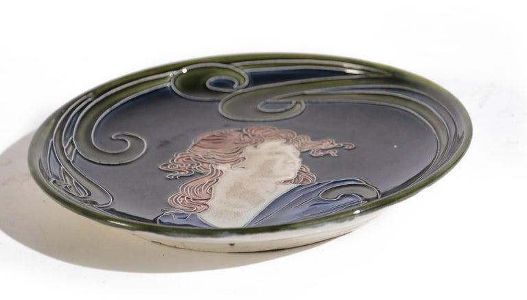 French Majolica Jugendstil Art Nouveau Ceramic Plate, circa 1900 For Sale 3