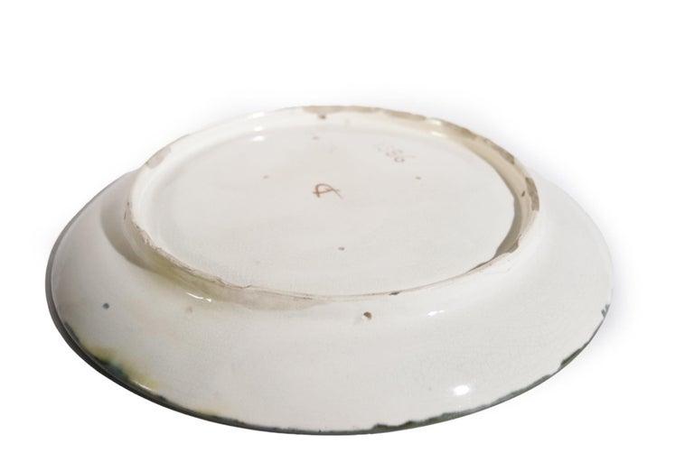 French Majolica Jugendstil Art Nouveau Ceramic Plate, circa 1900 For Sale 4