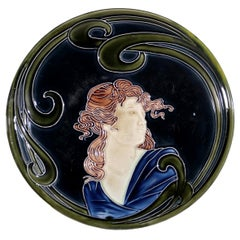 French Majolica Jugendstil Art Nouveau Ceramic Plate, circa 1900
