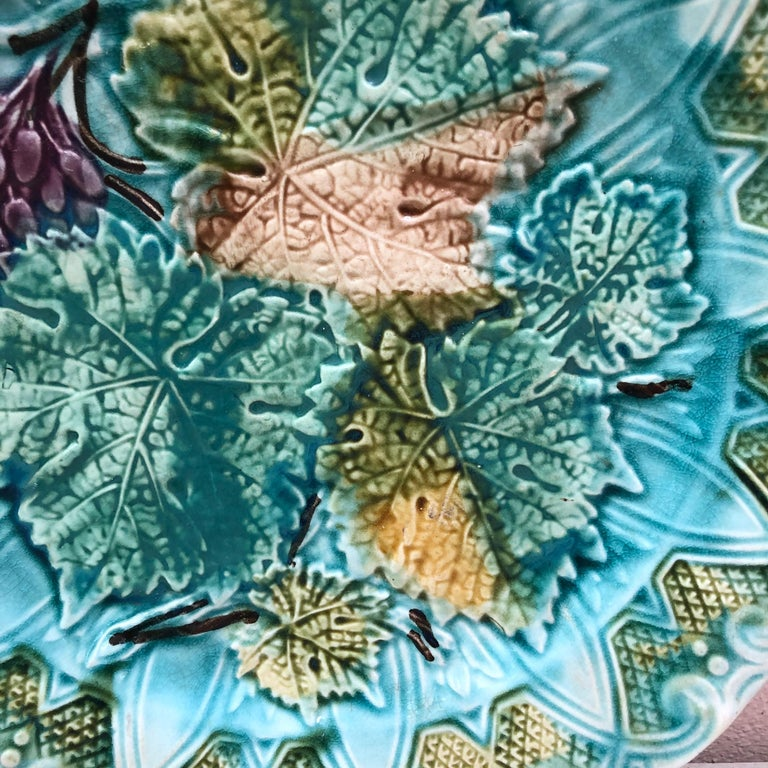 Country French Majolica Leaves & Grapes Plate Onnaing, circa 1900 For Sale