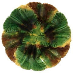 French Majolica Leaves Plate Clairefontaine, circa 1890