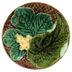 French Majolica Leaves & Yellow Flowers Plate Clairefontaine, circa 1890